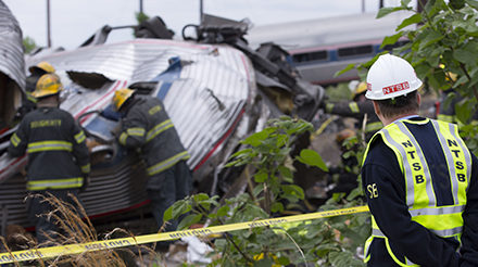 NTSB Chairman Sumwalt surveys scene of Amtrak derailment, Philadelphia